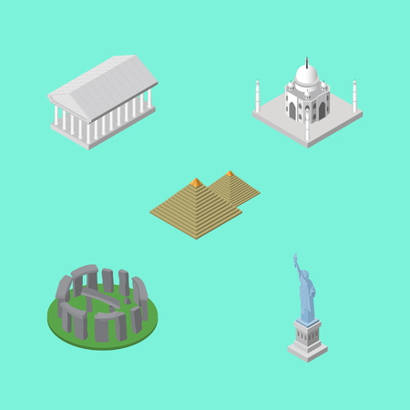 Isometric Travel Set Of Egypt , England, India Mosque Vector Objects. Illustration