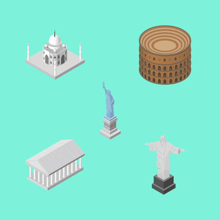 Isometric Travel Set Of Coliseum, Athens, New York And Other Vector Objects. Also Includes Statue, Taj, America Elements. Illustration