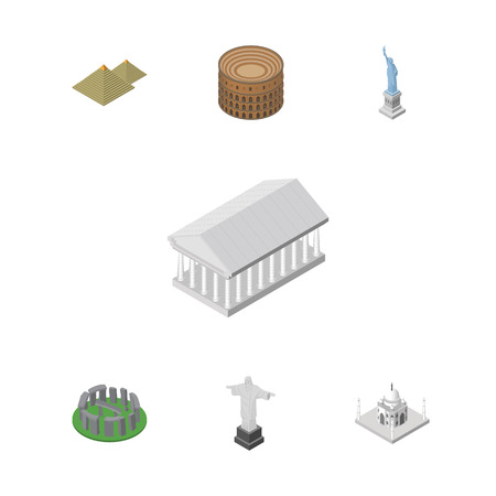 Isometric Travel Set Of India Mosque, Coliseum, Egypt And Other Vector Objects. Also Includes Mahal, England, Egypt Elements.