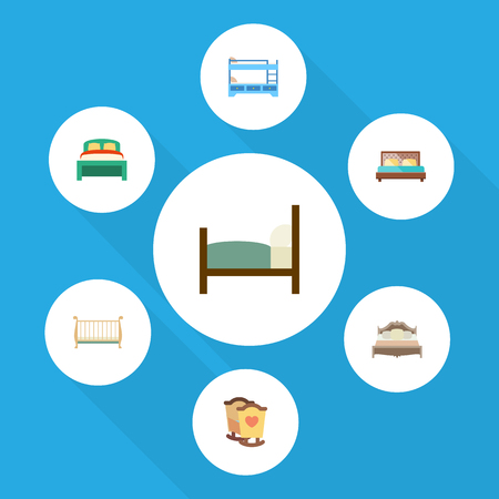 Flat Bedroom Set Of Bed, Hostel, Cot And Other Vector Objects. Also Includes Crib, Mattress, Bunk Elements. Illustration