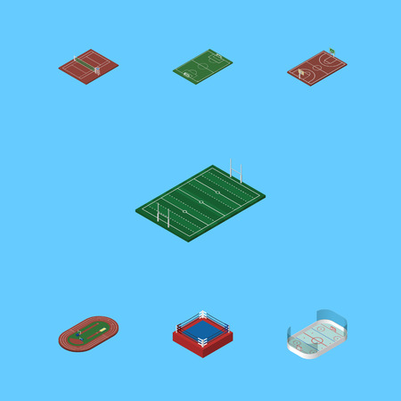 Isometric Sport Set Of Volleyball, Ice Games, Fighting And Other Vector Objects. Also Includes Playground, Running, B-Ball Elements.