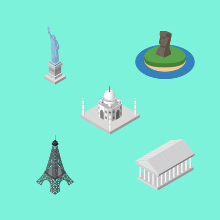 Isometric Attraction Set Of India Mosque, Paris, Chile And Other Vector Objects. Also Includes Mahal, MoAI, Tower Elements.