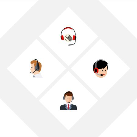Flat Center Set Of Telemarketing, Headphone, Hotline And Other Vector Objects. Also Includes Hotline, Help, Telemarketing Elements.