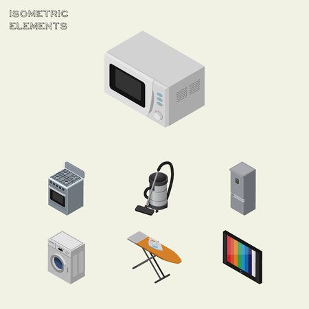 vac: Isometric Technology Set Of Television, Stove, Cloth Iron And Other Vector Objects. Also Includes Fridge, Kitchen, Vac Elements. Illustration