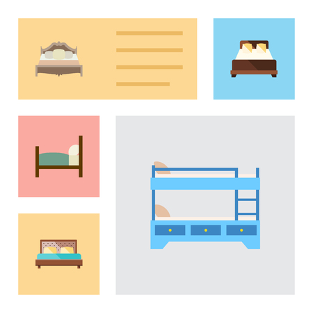 hotel bedroom: Flat Mattress Set Of Mattress, Bunk Bed, Hostel And Other Vector Objects. Also Includes Hostel, Bedroom, Bearings Elements.