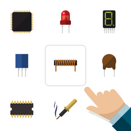 soldering: Flat Appliance Set Of Display, Receptacle, Cpu And Other Vector Objects. Also Includes Unit, Iron, Soldering Elements. Illustration