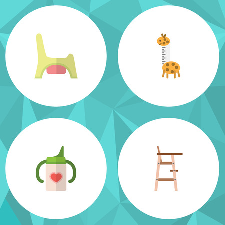 baby toilet seat: Flat Kid Set Of Toy, Nursing Bottle, Child Chair And Other Vector Objects. Also Includes Toy, Chair, Potty Elements.