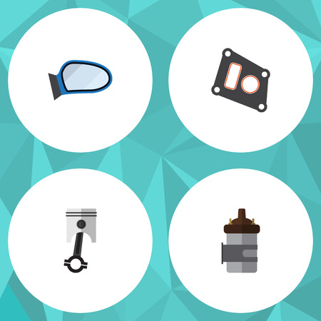 conrod: Flat Parts Set Of Absorber, Gasket, Conrod And Other Vector Objects. Also Includes Gasket, Combustion, Conrod Elements.