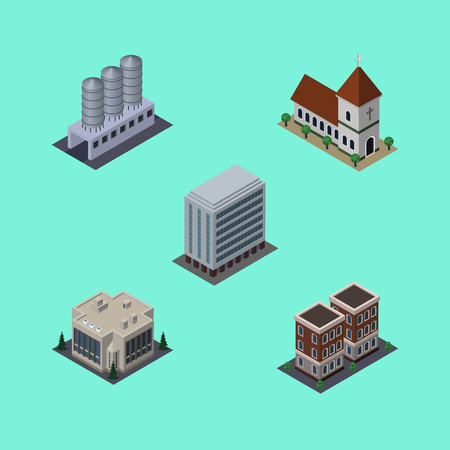 Isometric Architecture Set Of Office, Company, House And Other Vector Objects. Also Includes Tank, House, Warehouse Elements.
