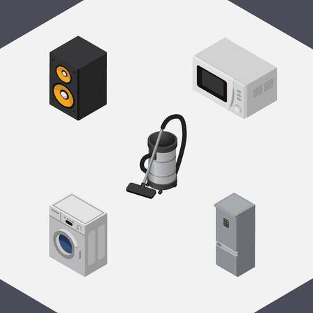 vac: Isometric Appliance Set Of Kitchen Fridge, Music Box, Microwave And Other Vector Objects. Also Includes Microwave, Fridge, Vac Elements.