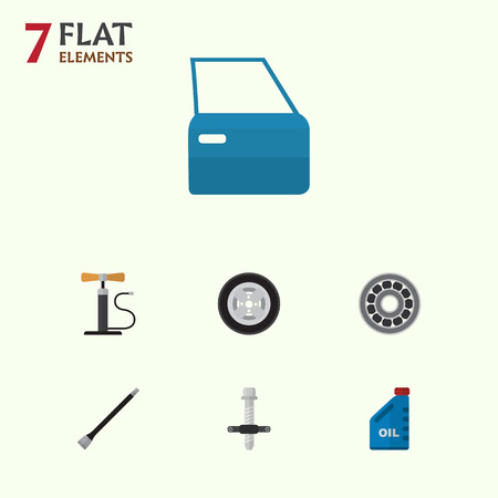 Flat Workshop Set Of Wheel Pump, Pipeline, Tire And Other Vector Objects. Also Includes Puller, Petrol, Ball Elements. Illusztráció