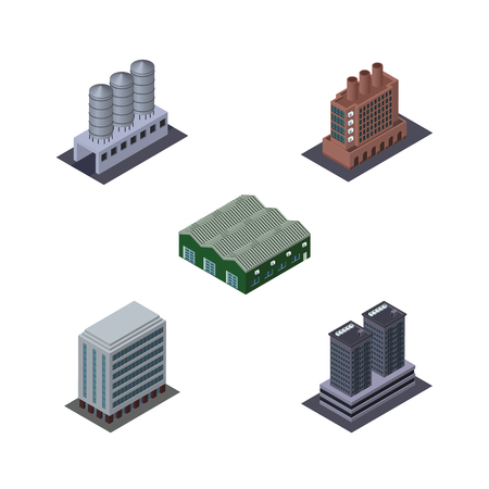 Isometric Building Set Of Tower, Water Storage, Warehouse And Other Vector Objects. Also Includes Factory, Tank, Storage Elements.