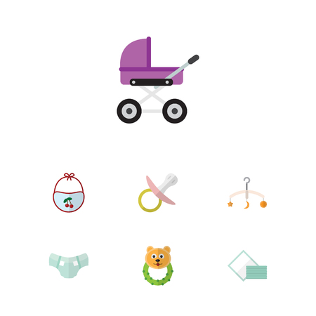 Flat Kid Set Of Mobile, Napkin, Stroller And Other Vector Objects. Also Includes Nappy, Pram, Pinny Elements.