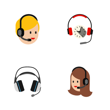 Flat Call Set Of Earphone, Headphone, Call Center And Other Vector Objects. Also Includes Headset, Center, Earphone Elements. Illustration