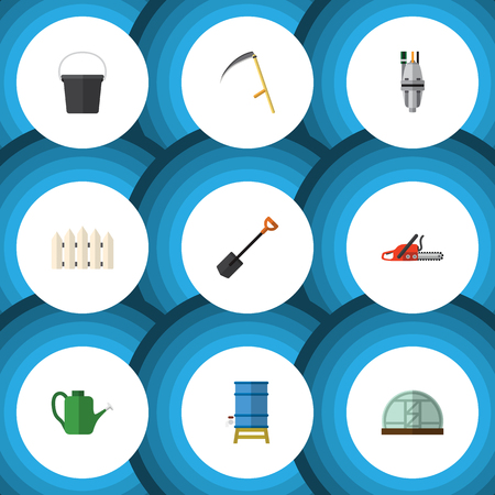 Flat Farm Set Of Hacksaw, Cutter, Pail And Other Vector Objects.