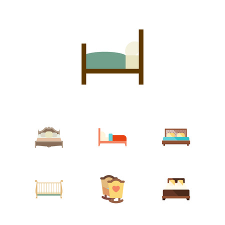 hotel bedroom: Flat  Set Of Bedroom, Bed, Hostel And Other Vector Objects. Illustration