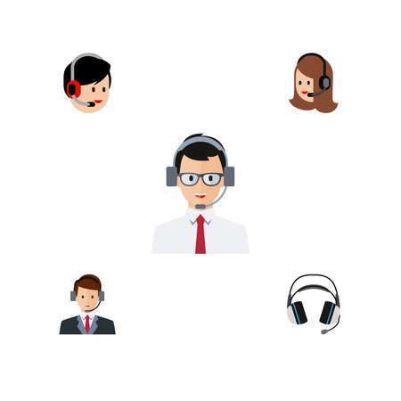 Flat Center Set Of Help, Earphone, Operator And Other Vector Objects.