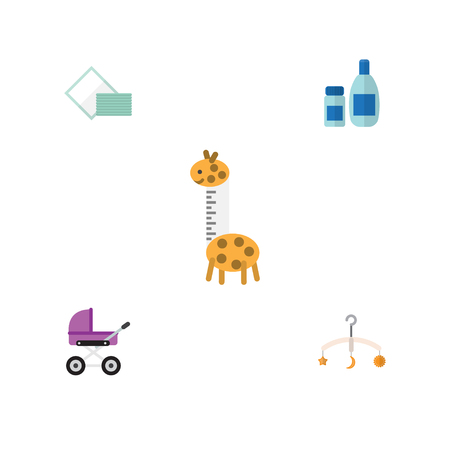 Flat Baby Set Of Cream With Lotion, Stroller, Mobile And Other Vector Objects.