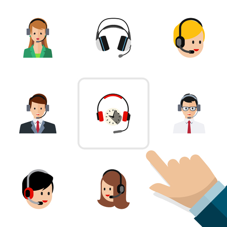 Flat Center Set Of Call Center, Earphone, Headphone And Other Vector Objects.