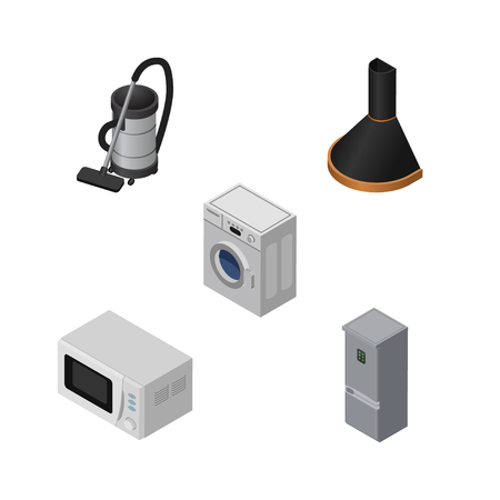 Isometric Appliance Set Of Laundry, Vac, Microwave And Other Vector Objects.