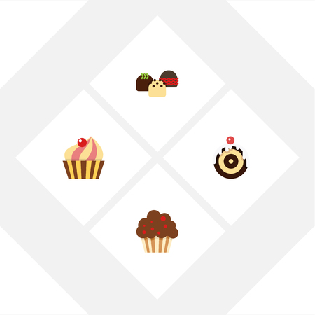 Flat Cake Set Of Pastry, Cake, Muffin And Other Vector Objects. Illustration