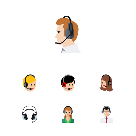 Flat Telemarketing Set Of Call Center, Service, Telemarketing And Other Vector Objects.