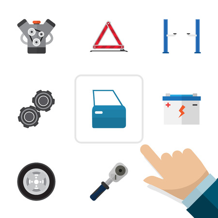 Flat Workshop Set Of Motor, Accumulator, Ratchet And Other Vector Objects. Illustration