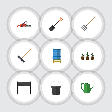 bbq barrel: Flat Dacha Set Of Harrow, Barbecue, Container And Other Vector Objects.