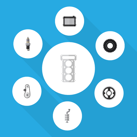 Flat Component Set Of Packing, Wheel, Heater And Other Vector Objects. Illustration
