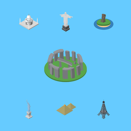 Isometric Architecture Set Of Chile, Paris, India Mosque And Other Vector Objects. Also Includes Mosque, Pyramids, Paris Elements. Illustration
