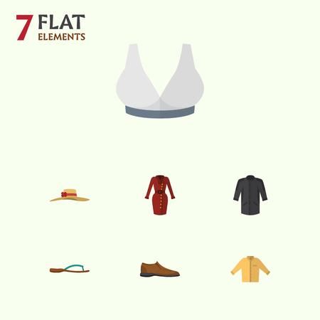 Flat Dress Set Of Elegant Headgear, Beach Sandal, Brasserie Vector Objects.