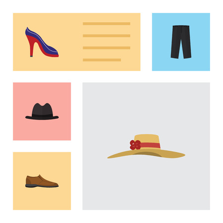 Flat Clothes Set Of Heeled Shoe, Pants, Male Footware And Other Vector Objects.