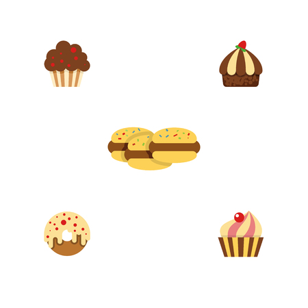 Flat Cake Set Of Biscuit, Muffin, Doughnut And Other Vector Objects. Also Includes Sweetmeat, Biscuit, Confectionery Elements. Illustration