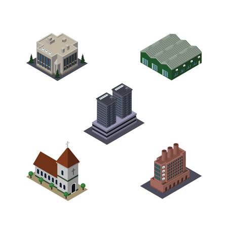 Isometric Architecture Set Of Company, Warehouse, Tower And Other Vector Objects. Also Includes Company, Industry, Church Elements.