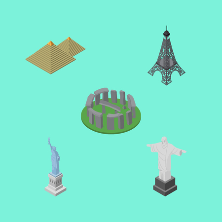 janeiro: Isometric Attraction Set Of England, Paris, New York Vector Objects. Also Includes Monument, America, England Elements.
