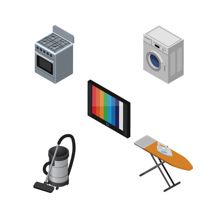 vac: Isometric Appliance Set Of Stove, Television, Vac And Other Vector Objects. Also Includes Tv, Cleaner, Kitchen Elements. Illustration