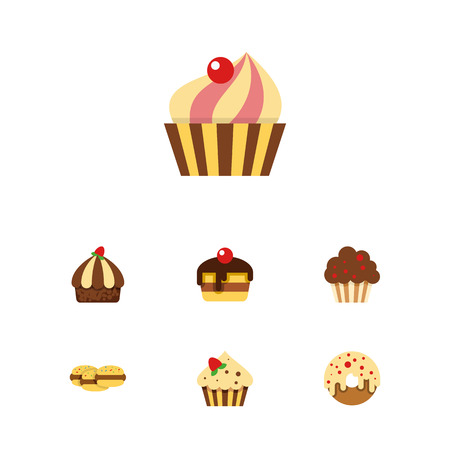 Flat Dessert; Set Of Confectionery, Biscuit, Dessert And Other Vector Objects. Also Includes Dessert, Doughnut, Cookie Elements.