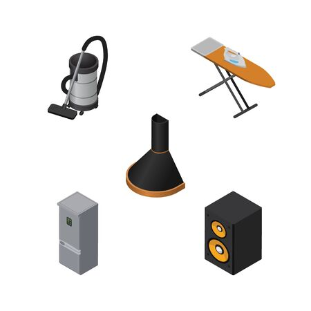 vac: Isometric Technology Set Of Vac, Music Box, Air Extractor And Other Vector Objects. Also Includes Hood, Cleaner, Kitchen Elements.