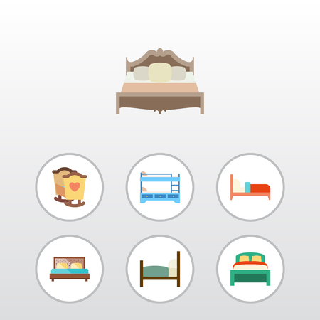 Flat Bedroom Set Of Bunk Bed, Hostel, Crib And Other Vector Objects. Also Includes Mattress, Bedding, Crib Elements.
