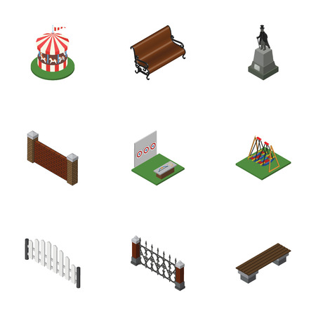 Isometric Street Set Of Aiming Game, Carousel, Barricade And Other Vector Objects. Also Includes Seesaw, Statue, Wooden Elements.