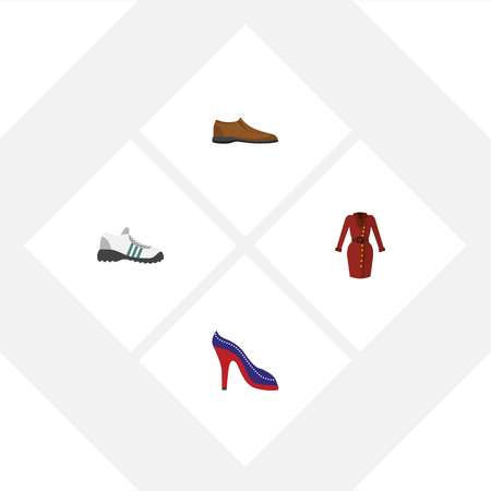 Flat Clothes Set Of Male Footware, Heeled Shoe, Sneakers And Other Vector Objects. Also Includes Sandal, Dress, Heeled Elements. Illustration