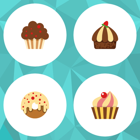 patisserie: Flat Dessert; Set Of Sweetmeat, Cupcake, Doughnut And Other Vector Objects. Also Includes Doughnut, Donuts, Cupcake Elements.