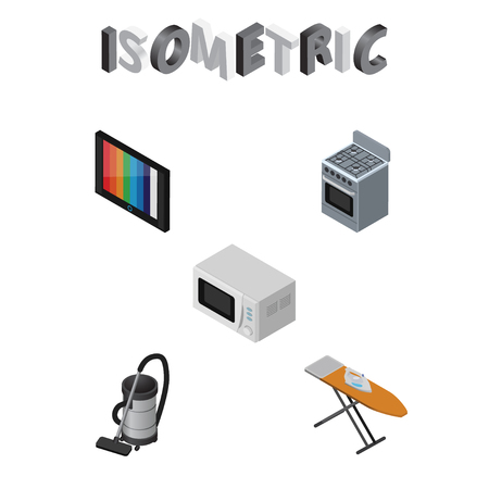 vac: Isometric Technology Set Of Cloth Iron, Microwave, Vac And Other Vector Objects. Also Includes Vac, Board, Ironing Elements.