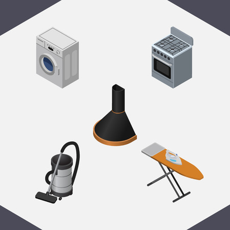 ironing: Isometric Electronics Set Of Air Extractor, Laundry, Stove And Other Vector Objects. Also Includes Vac, Cooker, Ironing Elements.