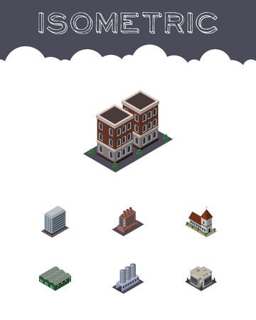 Isometric Construction Set Of Chapel, Warehouse, Office And Other Vector Objects. Also Includes Company, Tank, Office Elements.