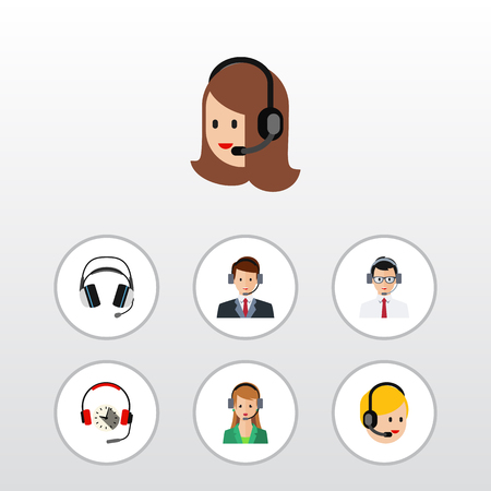 earpiece: Flat Center Set Of Hotline, Call Center, Secretary And Other Vector Objects. Also Includes Secretary, Help, Hotline Elements. Illustration