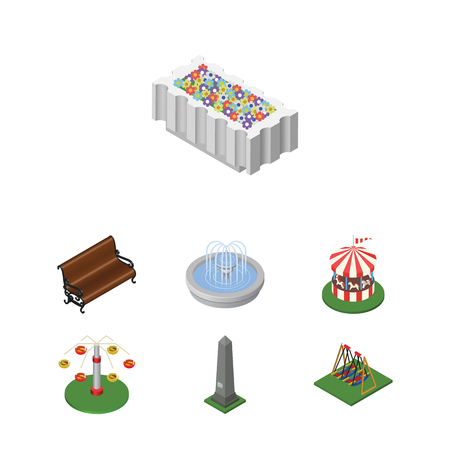 Isometric Architecture Set Of Swing Attraction, Sitting, Seesaw And Other Vector Objects. Also Includes Attraction, Dc, Rotation Elements.