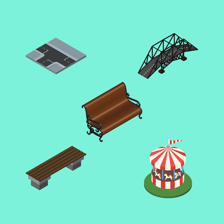 Isometric Urban Set Of Bench, Carousel, Expressway And Other Vector Objects. Also Includes Suspension, Carousel, Seat Elements.