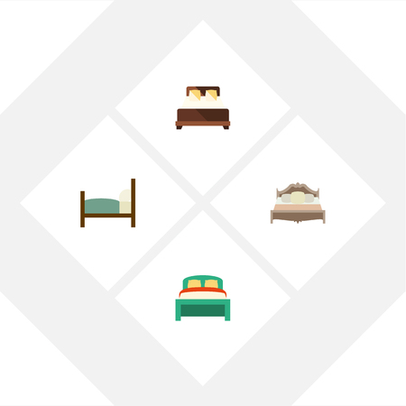hotel bedroom: Flat  Set Of Bed, Bedroom, Furniture And Other Vector Objects. Also Includes Double, Bedroom, Bearings Elements.