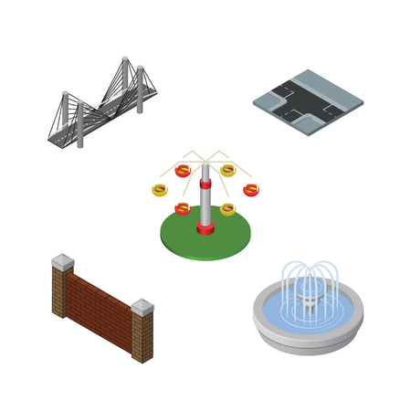 Isometric Street Set Of Barrier, Bridge, Swing Attraction And Other Vector Objects. Also Includes Highway, Suspension, Rotation Elements. Illustration